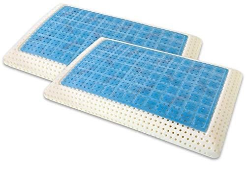 Marcapiuma - Pack de 2 Almohadas Viscoelásticas Memory Gel 70 cm Modelo Jabón Perforado con Funda 100% ALGODÓN - Almohada Viscoelástica Gel Ortopédica - Producto Sanitario - 100% Fabricadas en Italia