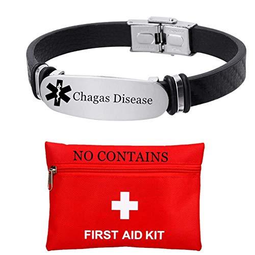 Pulsera de alarma de enfermedad de Chagas de silicona con grabado personalizado gratuito para mujeres y hombres, joyería de identificación personalizada para adultos mayores