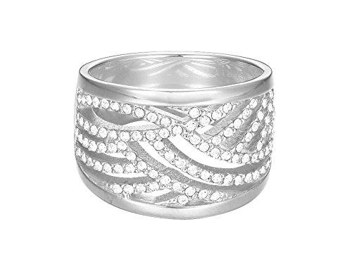 ESPRIT Damen-Ring JW50236 rhodiniert Glas weiß Gr. 60 (19.1) - ESRG02688A190