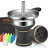 Hookah Bowl Set, Shisha Charcoal Holder Heat Management System, Hookah Phunnel Head Rubber Grommet Screen with 15PCs Tips Mouthpieces