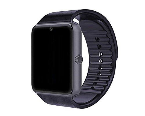 GT08 Reloj inteligente con pantalla táctil Bluetooth para teléfonos Android, reloj inteligente con ranura para tarjeta SIM, llamadas, masaje, para teléfonos iOS iPhone y Android, Samsung, ZTE, Sony, LG, a prueba de sudor (negro)