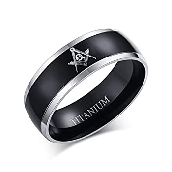 Bedrock Jewelry Titanium Band Black Ring for Men Comfort Fit Freemason Masonic Laser Etched Square & Compass  Size 12