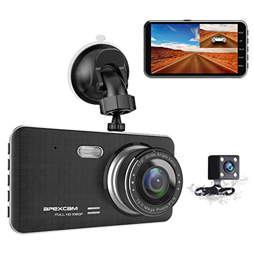 "[2020 New Version] Apexcam Dash Cam 4"" IPS 1080P FHD Driving Recorder Front and Waterproof Rear Lens Camera 170°Wide-Angle Dashboard Backup Cars Camera With G-Sensor WDR Loop Recording DVR Parking Monitor Motion Detection Night Vision"