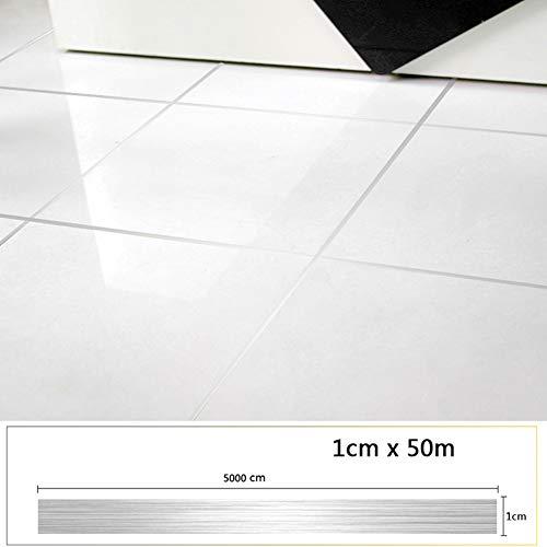 Adhesivo piso baldosa línea costura autoadhesivo impermeable decoración hogar(El 1cmx50mPlata)