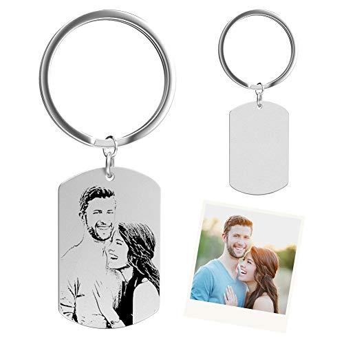 SOUFEEL Personalisierte Schlüsselanhänger mit Fotogravur Tag Anhänger Edelstahl Geschenk für Muttertag Mama Frau Mann