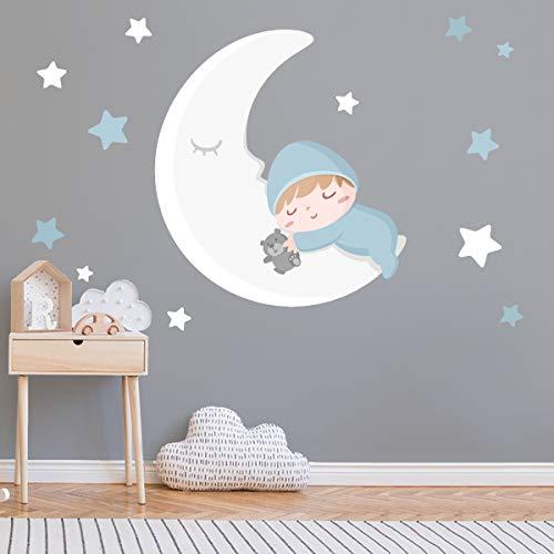 Vinilo bebé - Bebé en la luna blanca y azul - T1 - Pequeño
