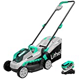 Litheli 20V Cordless 13 inches Brushless Lawn Mower, with 4Ah Battery and Charger, Electric Lawn...