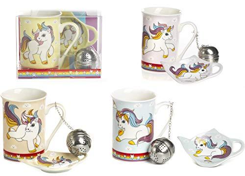 4 Pezzi Set Tazza Colazione Unicorno con Infusore e piattino Bomboniera Utile Comunione Cresima in Porcellana