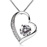 B.Catcher Collar Mujer 925 Plata de Ley corazón ''Para siempre te amaré'' con Para Valentín Originales Cadena 45cm Longitud