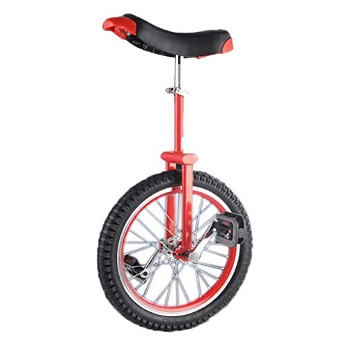 18 pulgadas Unicycle, equilibrio de una sola rueda divertida acrobática bicicletas contorneadas silla ergonómica ajustable resistente a prueba de deslizamiento for niños principiantes ( Size : Red )