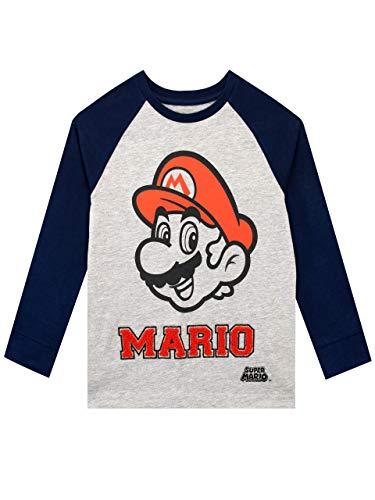 Super Mario Camiseta de Manga Larga para niños Gris 11-12 Años