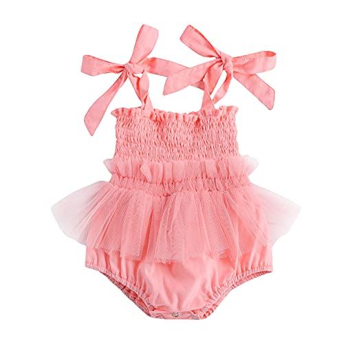 Conjunto de Mameluco de Tul, Tirante de Lazo de Encaje sin Mangas, Vestido Plisado, Regalo para bebé niña Princesa 0-18 Meses de Verano