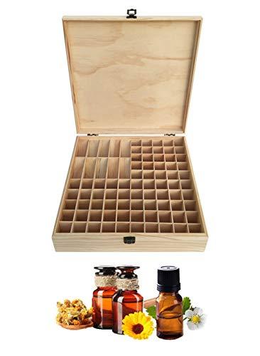 Songlela Ätherische Öle Flaschen Holzbox, 85 Löcher Aromatherapie Öle Tragen Organisator Multifunktions Geschenk Aufbewahrungsbox für Nagellack, Duftöle, Ätherisches Öl, Stain und Lippenstift