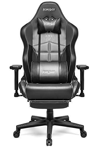Kirogi Gaming Stuhl, Bürostuhl Ergonomisch PC Stuhl, Verstellbarer Gamer Stuhl mit Fußstütze, PC Gaming stühle für Erwachsene, großer und hoher schreibtischstuhl aus Kohlefaser Leder. Grau