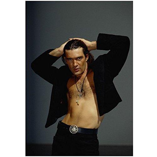 Antonio Banderas as El Mariachi from Desperado Looking HOT with Open Shirt and Hair Pulled Back 8 x 10 Photo