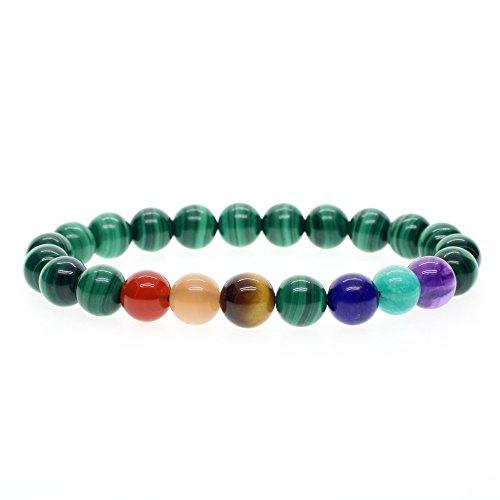 COAI® Pulsera Unisex de Piedra Semipreciosa Yoga Meditación Malaquita 7 Chakra M