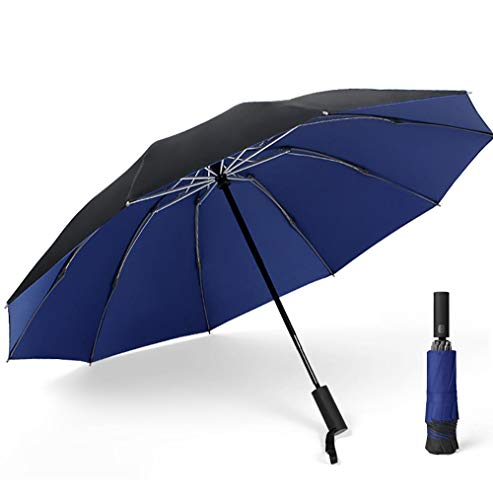 BLACK ELL Best Windproof compact Umbrella,Sturmfest Regenschirm Automatik,Doppelschichtiger großer Autoregen, automatischer Regen oder Regenschirm-Blau_10 Aktien
