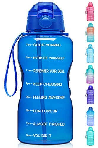 Giotto Large 1 Gallon/128oz Motivational Water Bottle with Time Marker & Straw,Leakproof Tritan BPA Free Water Jug,Ensure You Drink Enough Water Daily for Fitness,Gym and Outdoor Activity-Deep Blue