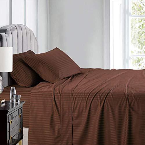 Knight & Kavalier Juego de sábanas Super King de 6 piezas, 100% algodón egipcio de 300 hilos, agradable a la piel, tejido de humedad, ultra suave y acogedor, transpirable (a rayas de chocolate)