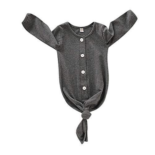 Baby Kids Jumpsuit pyjama pasgeboren baby's geknoopt slaapzak zwemmen geschenken foto rekwisieten Donkergrijs