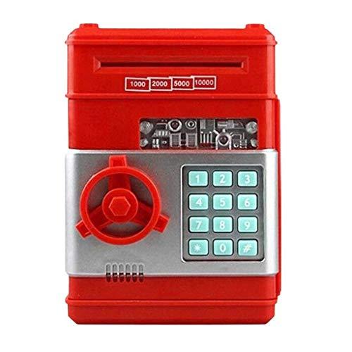 GJRFYJ Contraseña electrónica de dibujos animados mini cajero automático Hucha moneda de efectivo puede desplazamiento automático papel dinero caja de ahorro, para niños