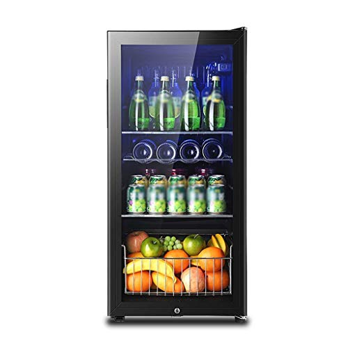 165L Wine Cooler Refrigeraton Box - boissons réfrigérateur et LED Cooler bleu Light- bière Réfrigérateur avec porte en verre et Lock, Can Cooler Bière, vin, Soda - Accessoires Chambre for homme 8bayfa