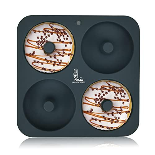SUPER KITCHEN ドーナツ型 シリコン型 ケーキ型 製菓道具 プレートノンスティック 耐熱 焼きドーナツ型 キッチン ツール モールド 掃除が簡単(グレー ) (1)
