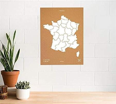 Miss Wood Mapa de Francia Estampado con Serigrafía sobre Corcho Natural, (45x60CM), Blanco, L: Amazon.es: Hogar