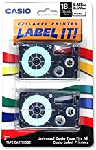 Casio XR-18X2S Tape Cassettes For Kl Label Makers, 18mm X 26ft, Black On Clear, 2/pack