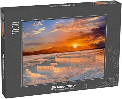 fotopuzzle.de Puzzle 1000 Teile schöner Sonnenaufgang und natürliche Travertin-Pools und Terrassen, Pamukkale, Türkei
