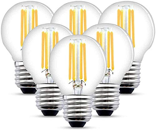 LED Filament Lampe E27, 4W LED Edison G45 Leuchtmittel 470 Lumen, ersetzt 40W Glühfadenlampe, 2700K Warmweiß Glühbirne, 6er Pack (4W)