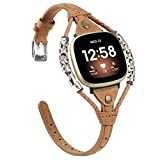 Glebo Compatible with Fitbit Versa 3 Band/Fitbit Sense Band for Women and Girls, Genuine Vintage Leather Strap Bracelet Replacement Wristband Accessories for Fitbit Versa 3 Smartwatch,Light Brown