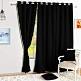 Story@Home Blackout Faux Silk Superior 2 Piece Plain Solid Window Curtains, 5 feet