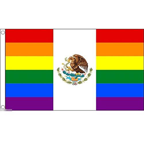 国旗 メキシコ合衆国 虹 レインボーフラッグ レアカラー 特大フラッグ【ノーブランド品】