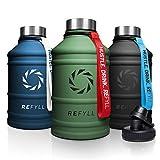 """REFYLL Edelstahl Trinkflasche """"heroFYLL"""" in 2,2L I Fitness Trinkflasche für Sport, Gym   Wasserflasche auslaufsicher, robust, BPA frei   + Gratis Sportdeckel (Army Green)"""