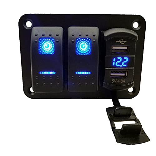 Jeromeki Panel de Interruptores Basculantes de 2 Bandas 12 V-24 V CC con VoltíMetro de Cargador USB Dual de 4,8 Amperios Impermeable para Camiones, Barcos, VehíCulos Recreativos