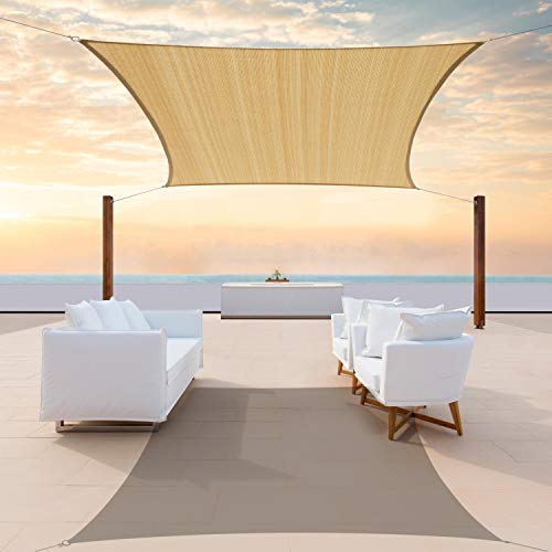 ColourTree 8' x 12' Sand Beige Rectangle Sun Shade Sail CTAPR1418 Canopy Fabric Cloth Screen, Water Permeable & UV Resistant, Heavy Duty, Carport Patio Outdoor - (We Customize Size)