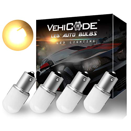 VehiCode Low Voltage 12-24v 1156 7506 1141 1073 93 P21W LED Light Bulb (Soft Warm White) BA15S Single Contact for RV Camper Vanity Porch Dome Outdoor Malibu Landscape Deck Pathway Light (4 Pack)
