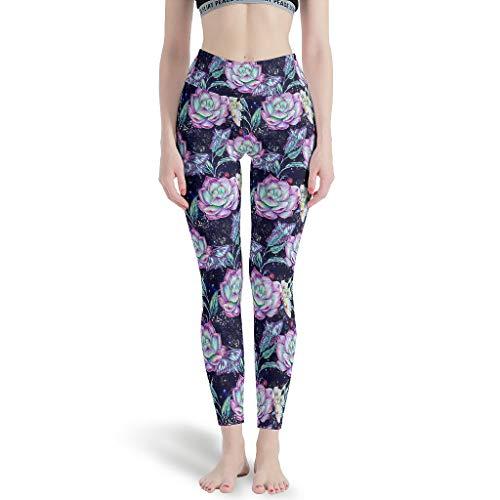 Damen Leggings Hippie Kaktus Blumen Pflanze Grafik Premium Ultraweich Dünne Hosen Aerial Yoga Pants für Yoga White m