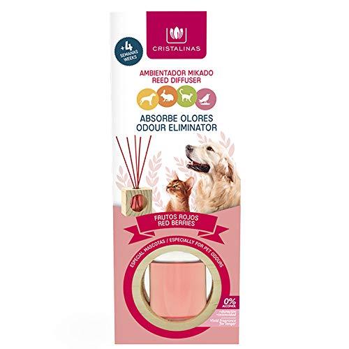 CRISTALINAS. Ambientador & Absorbe Olor Mikado para Mascotas. 0% Alcohol. Mas de 4 semanas de duración. Aroma (Frutos del Bosque)