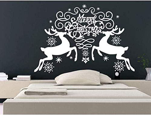 Wall Stickers,Wall Decal Snow Double Run Reindeer Merry Christmas Wall Art Living Room Decoration Shop Poster 41X58Cm
