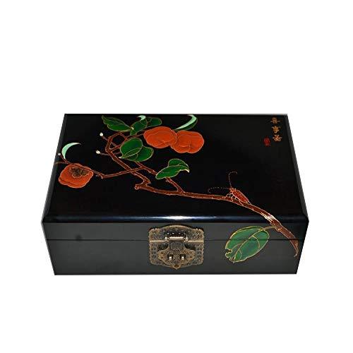 HAIHF Schmuckkästchen,Schmuckschatulle aus Holz chinesische Aufbewahrungsbox Pingyao Push Lack Ware Handwerk Schmuck Aufbewahrungsbox glücklich Karte