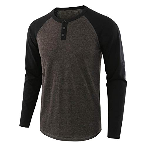 WUAI-Men Casual Slim Fit Cotton Henley Shirts Active Raglan Long Sleeve Baseball Jersey Shirts Tops Tees(Black,Large)