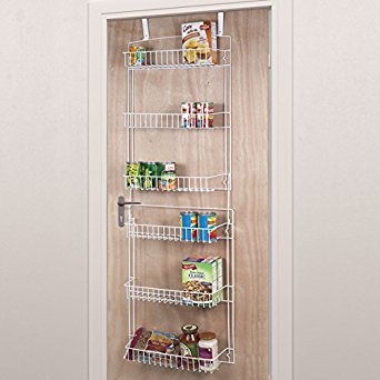 Everyday Home 5 Foot Overdoor Rack with 6 Baskets - White