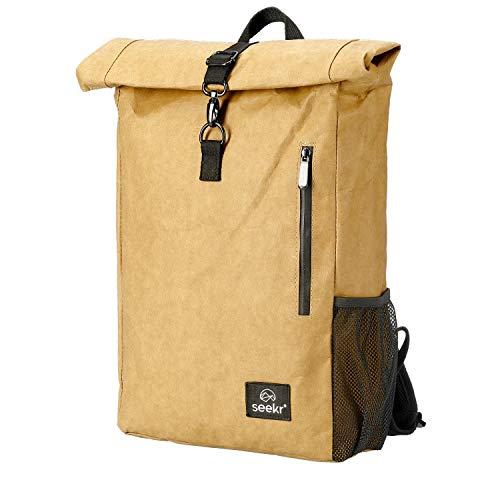 seekr® Rolltop Rucksack Backpack aus Zellstoff/Papier-Leder - vegan, nachhaltig und wasserfest, urban Style, Büro, Alltag, Outdoor