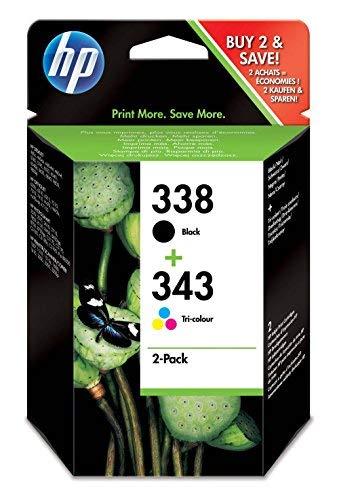 HP 338-343 ComboPack SD449EE Confezione da 2 Cartucce Originali per Stampanti a Getto di Inchiostro Officejet 6210, 6520, 6840, 7310, Photosmart 2610, 2710, 7850 e PSC Serie 2355, Nero e Tricomia