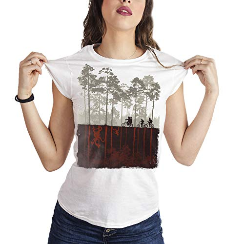 MUSH Eighteen Clothing T-Shirt L Donna Stranger Things Biciclette by