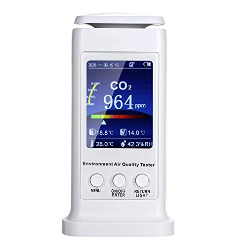 QuRRong Detector de Dióxido de Carbono 2.8 Pulgadas De Calidad del Aire Detector USB Recargable De CO2 Medidor De Temperatura Monitor De Humedad para Detección de Aire (Color : White, Size : EU)