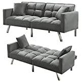 Olela Sleeper Sofa Bed Modern Tuft Futon Couch Convertible Loveseat Sleeper Reclining Sofa Bed Twin Size with Arms and 2 Pillows for Living Room, Light Grey