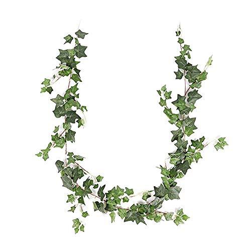 JUSTOYOU Efeu hinterlässt künstliche Girlandenpflanzen, 6,2 Fuß englische Efeu-Hochzeitsgirlande Hängende Laubpflanzen für Wohnwanddekor (grüner Efeu)